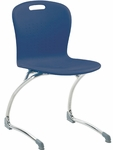 Sage Series Cantilever Chair with 18.25'' Seat Height in Navy Polypropylene and Chrome Frame [SGCANT18-BLU51-CHRM-VCO]