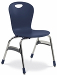 Quick Ship ZUMA Series Stack Chair 18'' Seat Height with Navy Polypropylene Seat and Chrome Frame [ZU418QS-BLU51-CHRM-VCO]