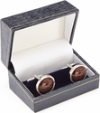 Luxury Handcrafted Cufflinks - Genuine Alligator - Brown