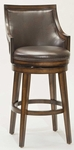 Lyman Wood 26.5'' Counter Height Stool with Brown Vinyl Swivel Seat - Rustic Oak [4481-826-FS-HILL]