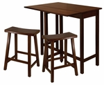 Lynnwood 3-Pc High Table Set with 2 Saddle Seat Stools [94384-FS-WWT]