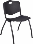 M'' 30''H Armless Stackable Plastic Chair with Handle - Black [4700BK-REG]