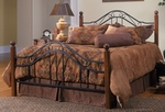 Madison Solid Wood Post and Metal Bed Set with Rails - Queen - Textured Black [1010BQR-FS-HILL]
