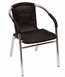 Madrid Chair Synthetic Wicker Wrapped Arm in Black [MS21CBL-BFMS]