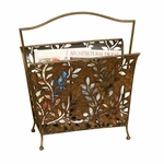 Cut Out Leaf Design 16.75''H Magazine Rack with Carry Handle - Bronze [2583-FS-PAS]