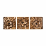 Magnolia 3D Gold and Brown Hand Painted 3 Piece 10'' Square Wall Panel Set [WS4136-FS-SENT]