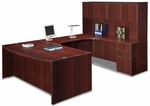 Mahogany Bow Front Desk Executive U Suite [ML344-MAHOGANY-FS-MAR]