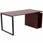 Mahogany Computer Desk with Open Storage Pedestal [NAN-JN-2108-GG]