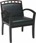 Work Smart Four Leg Guest Chair with Upholstered Wood Crown Back - Mahogany [WD1643-U6-FS-OS]