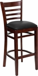 Mahogany Finished Ladder Back Wooden Restaurant Barstool with Black Vinyl Seat [BFDH-8241MBK-BAR-TDR]
