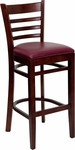 Mahogany Finished Ladder Back Wooden Restaurant Barstool with Burgundy Vinyl Seat [BFDH-8241MBY-BAR-TDR]