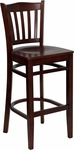 Mahogany Finished Vertical Slat Back Wooden Restaurant Barstool [BFDH-8242MM-BAR-TDR]