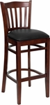 Mahogany Finished Vertical Slat Back Wooden Restaurant Barstool with Black Vinyl Seat [BFDH-8242MBK-BAR-TDR]