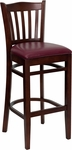 Mahogany Finished Vertical Slat Back Wooden Restaurant Barstool with Burgundy Vinyl Seat [BFDH-8242MBY-BAR-TDR]