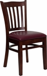Mahogany Finished Vertical Slat Back Wooden Restaurant Chair with Burgundy Vinyl Seat [BFDH-8242MBY-TDR]