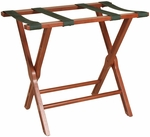Wooden 21''H Luggage Rack with Black Fabric Straps - Mahogany [LR-102-FS-PAS]