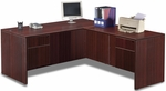 Mahogany Simple Workstation with Hanging Pedestals [ML351-MAHOGANY-FS-MAR]