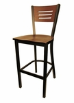 Mahogany Wood Back Metal Barstool with 3 Slats in Back [6157B-HND]