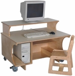 Mainstream Single Computer Table with Monitor Shelf,  24''H Work Surface [SF8005P-SFK]