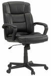 Bonded Leather Upholstered Adjustable Managers Chair with Casters - Black [414345-FS-SRTA]