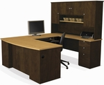 Manhattan U-Shaped Workstation with Keyboard Shelf and Locking Drawers - Secret Maple and Chocolate [81411-75-FS-BS]