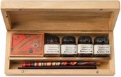 Manuscript Calligraphy Artist Set in Beautiful Wooden Box with Introductory Calligraphy Booklet and 4 Bottled Inks