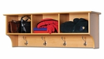 Entryway 48''W Cubbie Shelf with 3 Open Storage Compartments and 4 Hooks - Maple [MEC-4816-FS-PP]