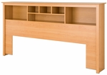King Size Bookcase Headboard with 6 Open Storage Compartments - Maple [MSH-8445-FS-PP]