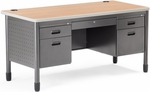 Mesa 27.75'' D x 59.25'' W Double Pedestal Teacher's Desk - Maple [66360-MPL-MFO]