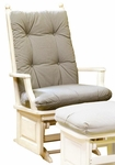 Maple Post Back Glider w/Raised Panel in Antique White [1307-FS-BFM]