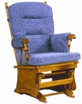 Maple Wood Post Back Glider with Solid Panel and Arm Pads - Maple Finish [1519-FS-BFM]
