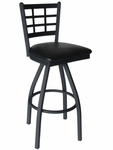 Marietta Metal Window Pane Swivel Barstool - Black Vinyl Seat [2163SBLV-SB-BFMS]