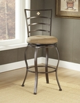 Marin Powder Coated Metal 24'' Counter Height Stool with Beige Suede Swivel Seat - Brown [4815-841-FS-HILL]