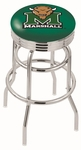 Marshall University 25'' Chrome Finish Double Ring Swivel Backless Counter Height Stool with Ribbed Accent Ring [L7C3C25MRSHLL-FS-HOB]