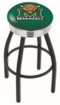 Marshall University 25'' Black Wrinkle Finish Swivel Backless Counter Height Stool with Ribbed Accent Ring [L8B3C25MRSHLL-FS-HOB]