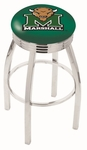 Marshall University 25'' Chrome Finish Swivel Backless Counter Height Stool with 2.5'' Ribbed Accent Ring [L8C3C25MRSHLL-FS-HOB]