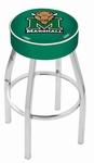 Marshall University 25'' Chrome Finish Swivel Backless Counter Height Stool with 4'' Thick Seat [L8C125MRSHLL-FS-HOB]
