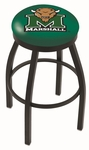 Marshall University 25'' Black Wrinkle Finish Swivel Backless Counter Height Stool with Accent Ring [L8B2B25MRSHLL-FS-HOB]