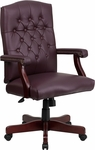 Martha Washington Burgundy Leather Executive Swivel Chair with Arms [801L-LF0019-BY-LEA-GG]