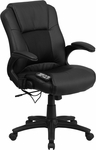 Massaging Black Leather Executive Swivel Office Chair [BT-2536P-1-GG]