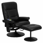 Massaging Black Leather Recliner and Ottoman with Leather Wrapped Base [BT-7320-MASS-BK-GG]