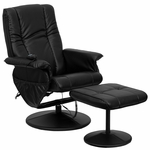 Massaging Black Leather Recliner and Ottoman with Leather Wrapped Base [BT-7600P-MASSAGE-BK-GG]