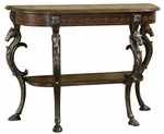 Masterpiece Floral Demilune Console Table with Horse head [416-225-FS-PO]