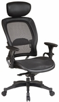 Space Matrex Mesh Back and Seat Executive Office Chair with Headrest and Adjustable Arms [27876-FS-OS]