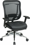 Space Matrix Back and Leather Seat Executive Office Chair with Arms and 300 lb Weight Capacity - Black [818A-41P9C1A8-FS-OS]