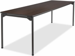 Maxx Legroom Wood 30'' x 96'' Folding Table - Walnut [65834-ICE]