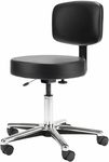 Medical Stool with Hand Lever Seat Adjustment and Upholstered Back - Chrome Base [DB63-FS-UC]
