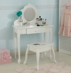 Queen Anne Style Kids Medium Size Vanity Includes Mirror and Stool - White [13009-FS-KK]