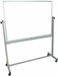 Doubled Sided Aluminum Frame Magnetic Mobile Whiteboard with Marker Tray - 51.5''W x 20.5''D x 65.5''H [MB4836WW-FS-LUX]