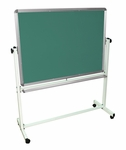 Double Sided 48''W Aluminum Frame Magnetic Mobile White Board and Chalkboard with Marker Tray [MB4836-FS-LUX]